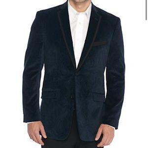 Madison Modern Fit Mens Blue Velvet Blazer M